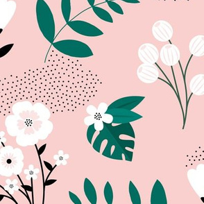 Bohemian summer blossom botanical leaves and flower branch and indian summer detailing pink green JUMBO