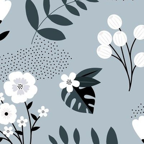 Bohemian summer blossom botanical leaves and flower branch and indian summer detailing blue gray