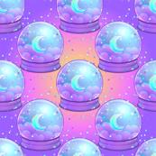 Moon crystal ball with stars