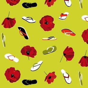 flip flops and poppies on yellowy green