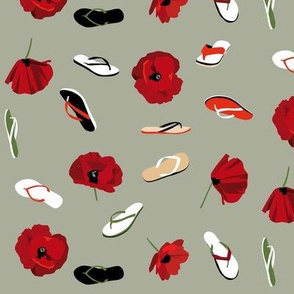 flip flops and poppies on sage green