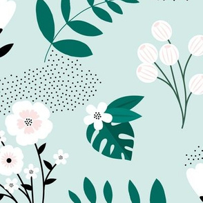Bohemian summer blossom botanical leaves and flower branch and indian summer detailing mint green JUMBO