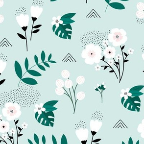 Bohemian summer blossom botanical leaves and flower branch and indian summer detailing mint green