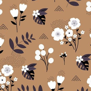 Bohemian summer blossom botanical leaves and flower branch and indian summer detailing brown rust