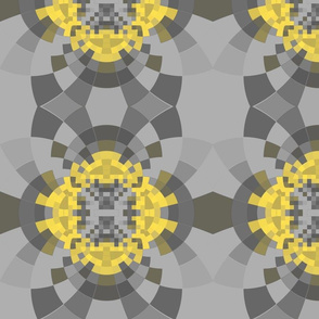 Yellow and Gray Pixellated Fractal