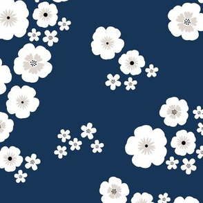 Romantic poppy flowers boho gipsy summer blossom garden navy blue