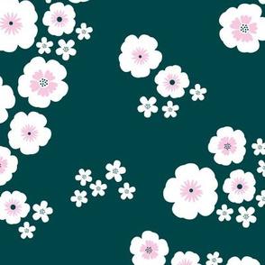 Romantic poppy flowers boho gipsy summer blossom garden green pink