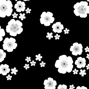 Romantic poppy flowers boho gipsy summer blossom garden black and white gray