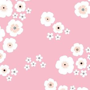 Romantic poppy flowers boho gipsy summer blossom garden pink