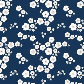 Romantic poppy flowers boho gipsy summer blossom garden navy blue SMALL