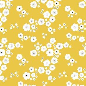 Romantic poppy flowers boho gipsy summer blossom ochre yellow SMALL