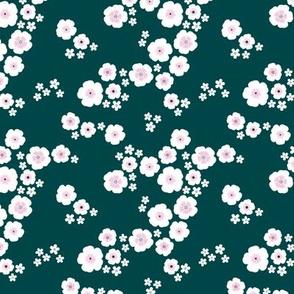 Romantic poppy flowers boho gipsy summer blossom garden green pink SMALL