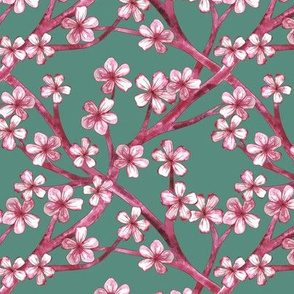 Eclectic Chinoiserie Lattice - Pink Cherry on Mint