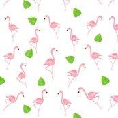 tossed flamingos with leaves