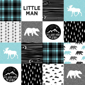 Little man & Happy Camper patchwork wholecloth   black and teal