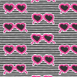 heart shaped glasses on stripes (hot pink on stripes) C19BS