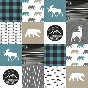 Happy Camper - Slate, Grey, Tan woodland patchwork LAD19