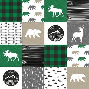 Happy Camper - Green, Grey, Tan woodland patchwork  C19BS