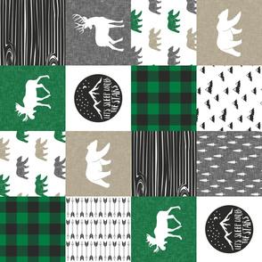 Happy Camper - Green, Grey, Tan woodland patchwork (90) C19BS