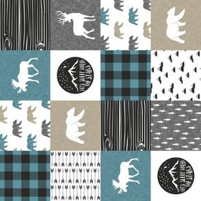 Happy Camper - Slate, Grey, Tan woodland patchwork (90) LAD19