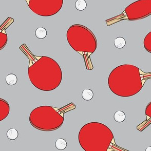 ping pong - table tennis - paddle and ping pong ball - red on grey - LAD19