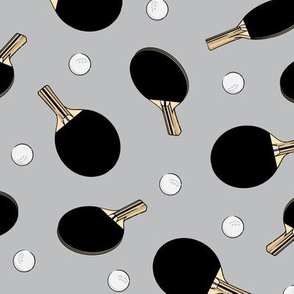 ping pong - table tennis - paddle and ping pong ball - black on grey - LAD19