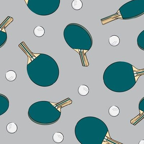 ping pong - table tennis - paddle and ping pong ball - teal on grey - LAD19