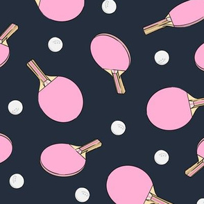 ping pong - table tennis - paddle and ping pong ball - pink on dark blue - LAD19