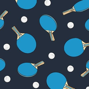 ping pong - table tennis - paddle and ping pong ball - blue on dark blue - LAD19