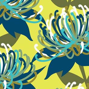 Waratah Australian Flora - greens & blue