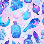 Mystic potion bottles on pink nebula