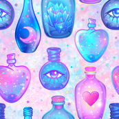 Mystic potion bottles on pink nebula 2