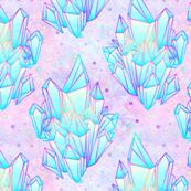 Crystal healing stars on pink purple nebula