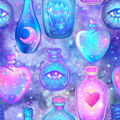 Mystic potion bottles on purple nebula