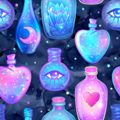 Mystic potion bottles on navy galaxy