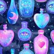 Mystic potion bottles on navy galaxy