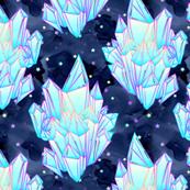 Crystal healing stars on navy galaxy