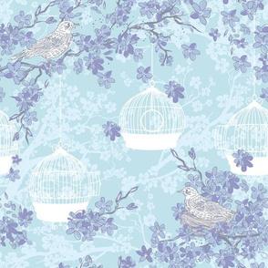 Blossoms And Nesting Birds - Soft Blue