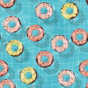 Chocolate Donuts in the  Summer Pool - medium scale