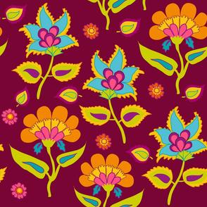 Indian Kalamkari pattern on red