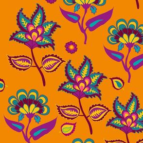 Indian Kalamkari floral pattern on oragne