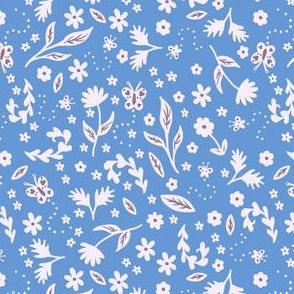 Flower & Butterflies on Blue
