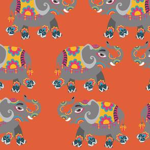 Indian Elephants On Orange