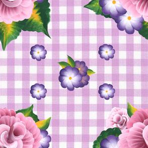 Roses on Lavender Gingham