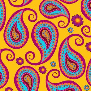 Happy Pasleys on yellow oriental pattern