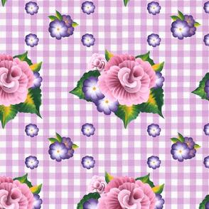 Roses on Lavender Gingham_medium scale