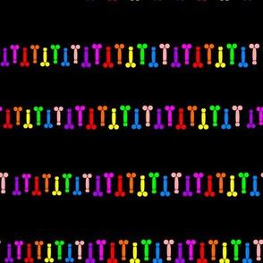stripes of colorful dildos