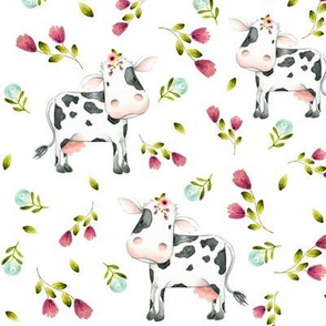 Spotted Cows – Pink & Blue Flowers