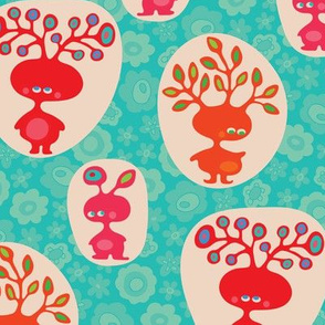Tree Heads Cute Childrens Creatures Bright Red Orange Pink Turquoise