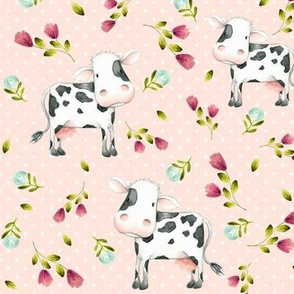 Spotted Cows – Pink & Blue Flowers - Baby Pink Dot